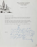Autographs:Authors, Erle Stanley Gardner, American Mystery Writer. Typed Letter Signedwith a Manuscript Postscript. Smoothed creases with a tou...