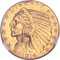 Indian Half Eagles, 1914-D $5 MS64 NGC. CAC....