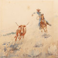 American:Western, EDWARD BOREIN (American, 1873-1945). Roping. Watercolor on paper. 7-1/4 x 7-1/4 inches (18.4 x 18.4 cm) (sheet). Signed ...