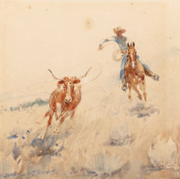 EDWARD BOREIN (American, 1873-1945) Roping Watercolor on paper 7-1/4 x 7-1/4 inches (18.4 x 18.4