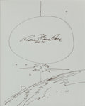 Autographs:Artists, Robert McCall Signed Sketch in Ben Bova's Book Vision of theFuture: The Art of Robert McCall. ...