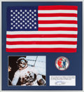 Explorers:Space Exploration, Skylab II (SL-3) Flown Largest-Size American Flag and Crew Emblem in Framed Display Directly from the Personal Collection of M...
