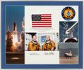 Explorers:Space Exploration, Space Shuttle Columbia (STS-3) Flown American Flag and Crew Patch in Framed Display Directly from the Personal Col...