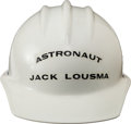 Explorers:Space Exploration, Apollo-Era KSC Hard Hat Worn by and Directly from the PersonalCollection of Astronaut Jack Lousma, with Signed LOA....