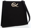 Luxury Accessories:Bags, Christian Lacroix Black Satin Evening Bag with Crystal CL Detail....