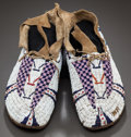 American Indian Art:Beadwork and Quillwork, A PAIR OF CHEYENNE BEADED HIDE MOCCASINS. c. 1885...