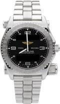 Timepieces:Wristwatch, Breitling Rare 18k White Gold Emergency J5612.1 Aviator's QuartzChronometer. ...