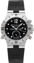 Timepieces:Wristwatch, Bulgari Steel Ref. Sd 38 S Three Time Zone GMT Scuba AutomaticChronometer. ...