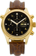 Timepieces:Wristwatch, IWC Ref. 3713 Gold Doppel Chronograph Automatic. ...