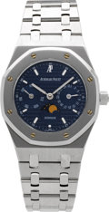 Timepieces:Wristwatch, Audemars Piguet Royal Oak Stainless Steel Automatic Calendar WithMoon Phase. ...