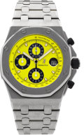Timepieces:Wristwatch, Audemars Piguet Steel Royal Oak Offshore Chronograph. ...