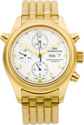 Timepieces:Wristwatch, IWC Ref. 3713 Gold Doppel Chronograph Automatic With Split Seconds. ...