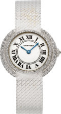 Timepieces:Wristwatch, Cartier Lady's White Gold & Diamond Wristwatch. ...