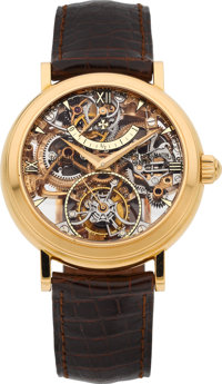 Vacheron Constantin Extremely Fine & Rare Skeletonized Pink Gold Twin Barrel One Minute Tourbillon With Power Re...