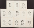 Hockey Collectibles:Photos, Early 1970's Original Chicago Blackhawks Artwork Signed by PlayersLot of 13....