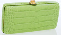 Oscar de la Renta Lime Crocodile Embossed Leather Clutch Bag