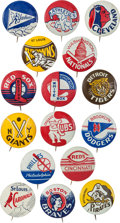 Baseball Collectibles:Pins, Circa 1950 Baseball Team Pins Complete Set (16). ...
