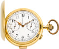 Timepieces:Pocket (post 1900), Swiss 18k Gold Minute Repeater With Chronograph & Register,circa 1910. ...