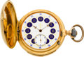 Timepieces:Pocket (pre 1900) , Swiss Gold Minute Repeater With Fancy Dial, circa 1895. ...