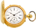 Timepieces:Pocket (pre 1900) , Swiss Gold Minute Repeater With Split Seconds Chronograph, circa1890's. ...
