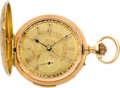 Timepieces:Pocket (pre 1900) , Swiss Ornate Gold Minute Repeater With Fancy Dial, circa 1895. ...