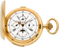 Timepieces:Pocket (pre 1900) , Ls. Armand Locle Massive Gold Quarter Hour Repeater With Calendar& Moon Phase, circa 1896. ...