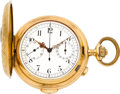 Timepieces:Pocket (pre 1900) , Volta 18k Gold Minute Repeater With Chronograph & Register, circa 1895. ...