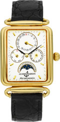 Timepieces:Wristwatch, Ulysse Nardin 18k Gold Michelangelo Calendar With Moon Phase. ...