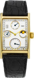Timepieces:Wristwatch, IWC Fine & Rare Novecento Gold Perpetual Calendar With MoonPhases. ...