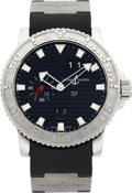Timepieces:Wristwatch, Ulysse Nardin Acqua Perpetual Ref. 333-55 Steel Diver's Watch WithPerpetual Calendar. ...