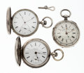 Timepieces:Pocket (pre 1900) , A Lot Of Three Key Winds Pocket Watches. ... (Total: 3 Items)