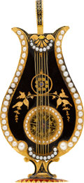 Timepieces:Pocket (pre 1900) , Swiss Rare Miniature Lyre Form Gold & Enamel Verge With Pearls,circa 1820. ...
