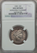 Barber Quarters: , 1900 25C -- Improperly Cleaned -- NGC Details. UNC. NGC Census:(0/211). PCGS Population (3/187). Mintage: 10,016,912. Numi...