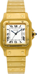 Timepieces:Wristwatch, Cartier Gent's Gold Santos Automatic. ...