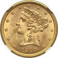Liberty Half Eagles: , 1907 $5 MS64+ NGC. NGC Census: (917/167). PCGS Population(697/104). Mintage: 626,192. Numismedia Wsl. Price for problemfr...