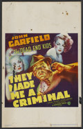 "Movie Posters:Crime, They Made Me a Criminal (Warner Brothers, 1939). Window Card (14"" X22""). Crime. ..."