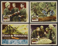 """Movie Posters:War, Halls of Montezuma (20th Century Fox, 1951). Title Lobby Card andLobby Cards (3) (11"""" X 14""""). War. ... (Total: 4 Items)"""