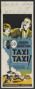 "Movie Posters:Comedy, Taxi! Taxi! (Universal, 1927). Pre-War Australian Daybill (15"" X 40""). Comedy. ..."
