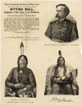 "Western Expansion:Cowboy, BROADSIDE SIOUX WARRIOR ""SITTING BULL"" & GEN'L ""G. A. CUSTER""1880 - This great book advertising broadside, with beautif..."