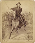 "Photography:Cabinet Photos, CABINET CARD OF ""GENERAL CUSTER ON HIS WAR HORSE"" 1880'S - Imperialsize engraving by H. R. Locke, Deadwood South Dakota. T... (Total:1 Item)"