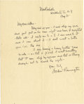 Western Expansion:Cowboy, FREDERIC REMINGTON AUTOGRAPH LETTER ca. 1880'S - One page letterfrom famed artist Frederic Remington, Dated Aug 31 (circa 1...(Total: 1 Item)