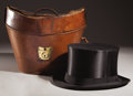 Antiques:Decorative Americana, Purported to be Lt. Gov. Mcmanu's Silk Top Hat and Leather Case....