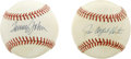 Autographs:Baseballs, Tommy John and Catfish Hunter Single Signed Baseballs Lot of 2. Thepitching pair of yesteryear of Tommy John and Catfish H...