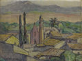 Fine Art - Painting, American:Modern  (1900 1949)  , JESSIE BARROWS JONES (American 1865-1944). RooftopLandscape. Oil and pencil on masonite. 12 x 16 inches (30.5 x40.6 cm...