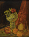 Fine Art - Painting, American:Other , TWENTIETH CENTURY SCHOOL. Still Life with Fruit, Circa 1950.Oil on panel. 20 x 16 inches (50.8 x 40.6 cm). Unsigned. ...
