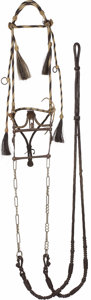 "Western Expansion:Cowboy, ARIZONA ""PRISON MADE"" HORSEHAIR HEADSTALL WITH SANTA BARBARA BIT -Round hitched Yuma, Arizona Prison; natural color headsta..."