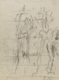 Fine Art - Painting, American:Modern  (1900 1949)  , REGINALD MARSH (American 1898-1954). Study of Male Nudes.Graphite on paper. 12 x 9 inches (30.5 x 22.9 cm). Signed at l...