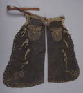 Western Expansion:Cowboy, DECORATIVE BATWING CHAPS - Unmarked 1950's studded chaps with 'Bar20' on corners with brass conchos.. Condition: Worn...