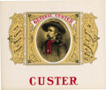 """Western Expansion:Cowboy, GENERAL GEORGE CUSTER """"CUSTER"""" CIGAR LABEL ca. 1880-1890 - This isa very beautiful Un-mounted Cigar label with Vignette of ..."""