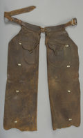 Western Expansion:Cowboy, R.T. FRAZIER, PUEBLO, COLORADO BATWING CHAPS - True working cowboychaps with outside pockets and basket stamped belt; marke...